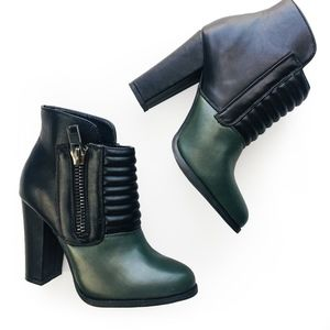 Olive Green and Black Ankle Booties size 6